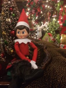 Sparkles the Elf welcomes you into the Family Room.