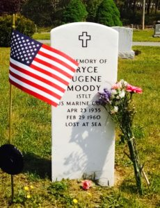 Gravestone and flag