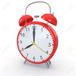 Red alarm clock on isolated background show time 8:00